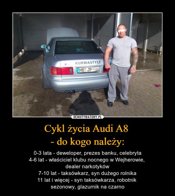 Cykl życia Audi A8 - do kogo należy: – 0-3 lata - deweloper, prezes banku, celebryta4-6 lat - właściciel klubu nocnego w Wejherowie, dealer narkotyków7-10 lat - taksówkarz, syn dużego rolnika11 lat i więcej - syn taksówkarza, robotnik sezonowy, glazurnik na czarno