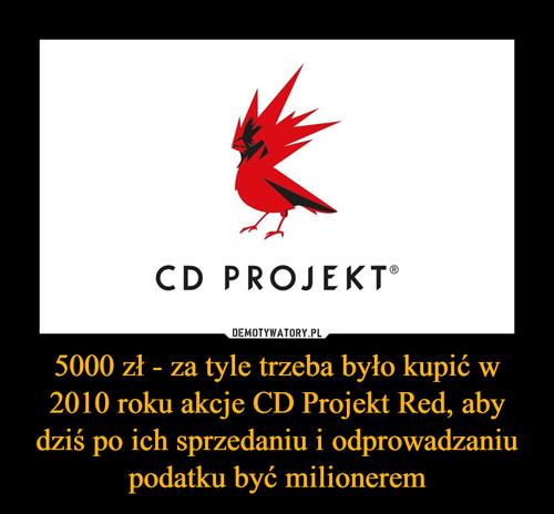 5000 zł - za tyle trzeba było kupić w 2010 roku akcje CD Projekt Red, aby dziś po ich sprzedaniu i odprowadzaniu podatku być milionerem
