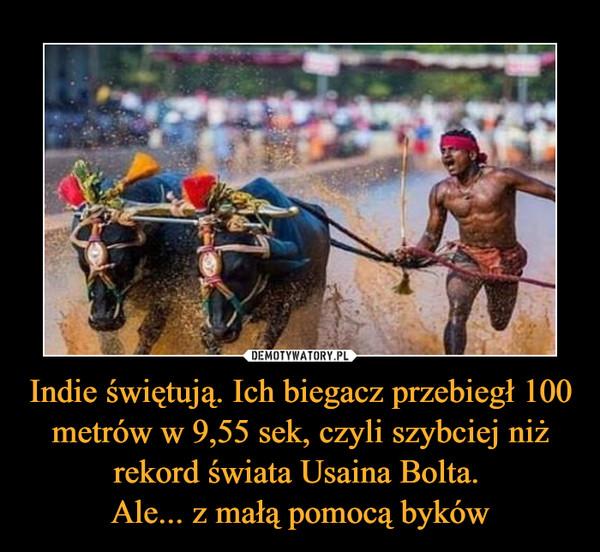 Indie świętują. Ich biegacz przebiegł 100 metrów w 9,55 sek, czyli szybciej niż rekord świata Usaina Bolta. Ale... z małą pomocą byków –