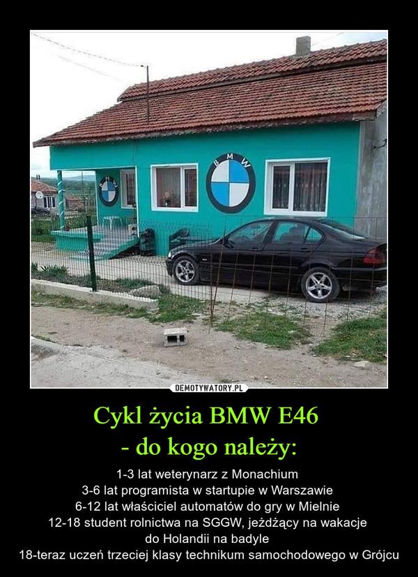 Cykl życia BMW E46 - do kogo należy: – 1-3 lat weterynarz z Monachium 3-6 lat programista w startupie w Warszawie 6-12 lat właściciel automatów do gry w Mielnie 12-18 student rolnictwa na SGGW, jeżdżący na wakacje do Holandii na badyle 18-teraz uczeń trzeciej klasy technikum samochodowego w Grójcu