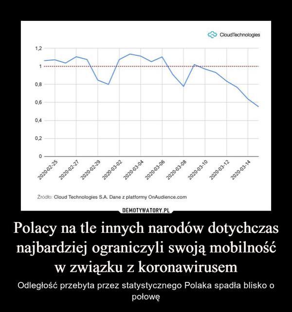 Polacy na tle innych narodów dotychczas najbardziej ograniczyli swoją mobilność w związku z koronawirusem – Odległość przebyta przez statystycznego Polaka spadła blisko o połowę