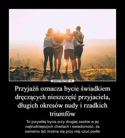 Przyjaźń oznacza bycie świadkiem dręczących nieszczęść przyjaciela, długich okresów nudy i rzadkich triumfów