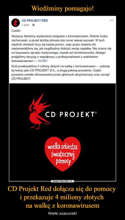 Wiedźminy pomagajo! CD Projekt Red dołącza się do pomocy  i przekazuje 4 miliony złotych  na walkę z koronawirusem