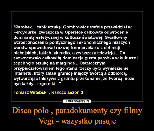 Disco polo , paradokumenty czy filmy Vegi - wszystko pasuje