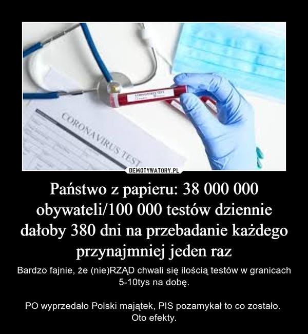Państwo z papieru: 38 000 000 obywateli/100 000 testów dziennie dałoby 380 dni na przebadanie każdego przynajmniej jeden raz – Bardzo fajnie, że (nie)RZĄD chwali się ilością testów w granicach 5-10tys na dobę.PO wyprzedało Polski majątek, PIS pozamykał to co zostało. Oto efekty.