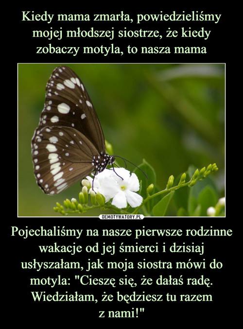 """Kiedy mama zmarła, powiedzieliśmy mojej młodszej siostrze, że kiedy zobaczy motyla, to nasza mama Pojechaliśmy na nasze pierwsze rodzinne wakacje od jej śmierci i dzisiaj usłyszałam, jak moja siostra mówi do motyla: """"Cieszę się, że dałaś radę. Wiedziałam, że będziesz tu razem z nami!"""""""