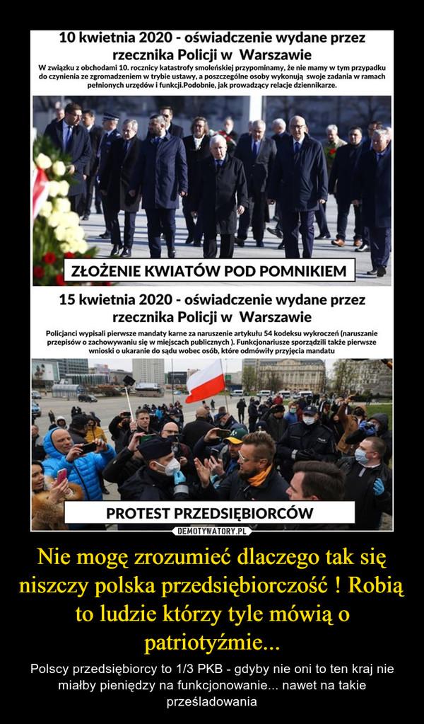 Nie mogę zrozumieć dlaczego tak się niszczy polska przedsiębiorczość ! Robią to ludzie którzy tyle mówią o patriotyźmie... – Polscy przedsiębiorcy to 1/3 PKB - gdyby nie oni to ten kraj nie miałby pieniędzy na funkcjonowanie... nawet na takie prześladowania