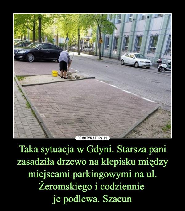 Taka sytuacja w Gdyni. Starsza pani zasadziła drzewo na klepisku między miejscami parkingowymi na ul. Żeromskiego i codziennie je podlewa. Szacun –