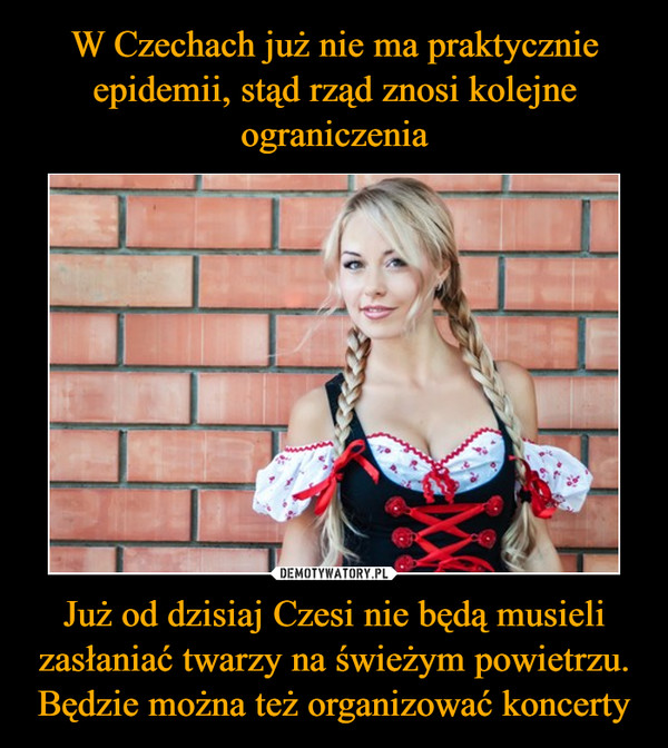 Już od dzisiaj Czesi nie będą musieli zasłaniać twarzy na świeżym powietrzu. Będzie można też organizować koncerty –