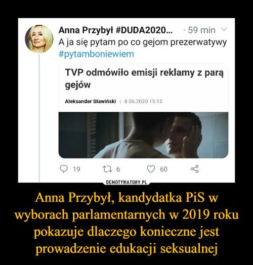 Anna Przybył, kandydatka PiS w wyborach parlamentarnych w 2019 roku pokazuje dlaczego konieczne jest prowadzenie edukacji seksualnej