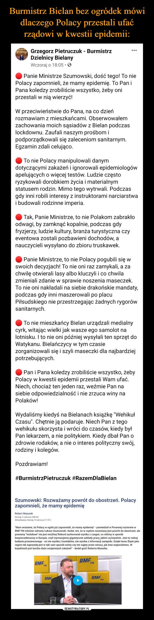–  Grzegorz Pietruczuk - Burmistrz Dzielnicy Bielany20 godz. ·