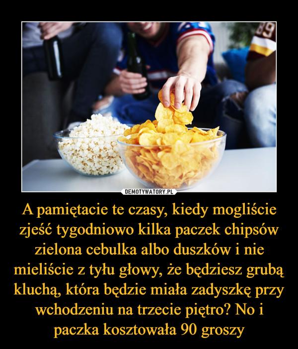 A pamiętacie te czasy, kiedy mogliście zjeść tygodniowo kilka paczek chipsów zielona cebulka albo duszków i nie mieliście z tyłu głowy, że będziesz grubą kluchą, która będzie miała zadyszkę przy wchodzeniu na trzecie piętro? No i paczka kosztowała 90 groszy –