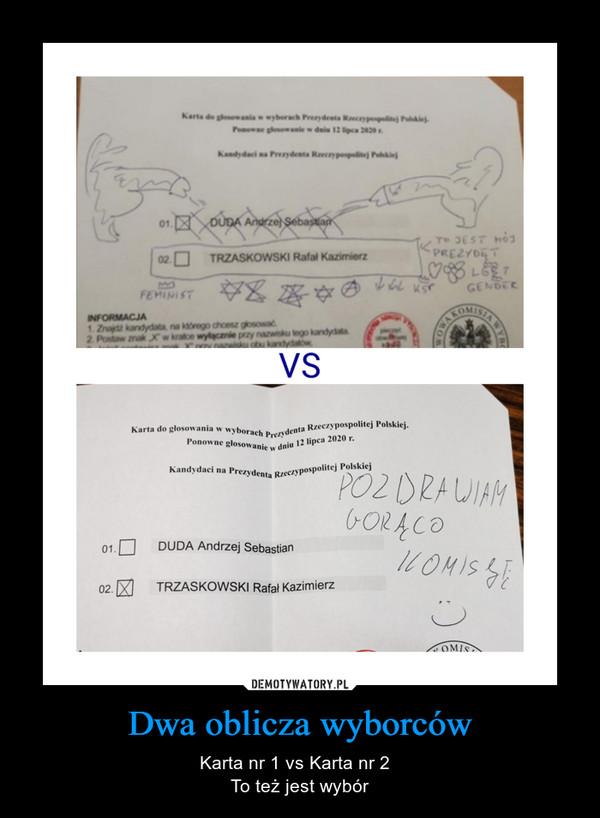 Dwa oblicza wyborców – Karta nr 1 vs Karta nr 2  To też jest wybór