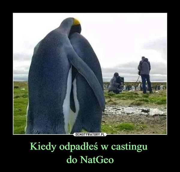Kiedy odpadłeś w castingu do NatGeo –