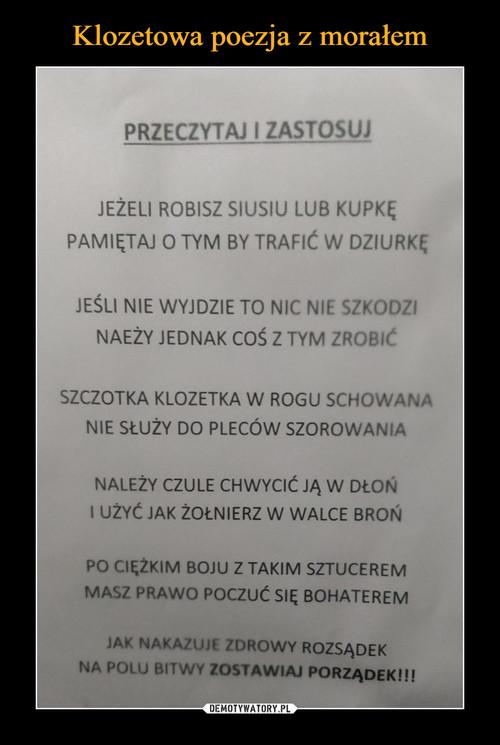 Klozetowa poezja z morałem