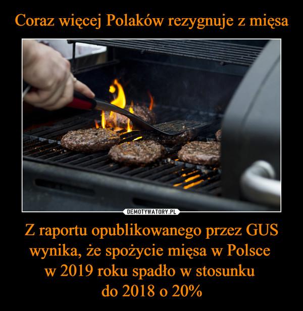 Z raportu opublikowanego przez GUS wynika, że spożycie mięsa w Polsce w 2019 roku spadło w stosunku do 2018 o 20% –
