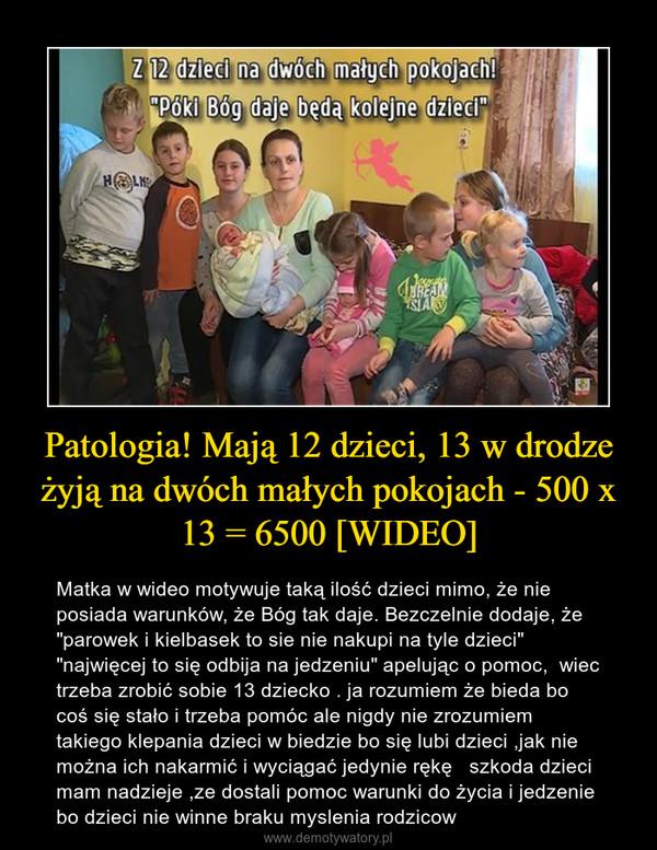 """Patologia! Mają 12 dzieci, 13 w drodze żyją na dwóch małych pokojach - 500 x 13 = 6500 [WIDEO] – Matka w wideo motywuje taką ilość dzieci mimo, że nie posiada warunków, że Bóg tak daje. Bezczelnie dodaje, że """"parowek i kielbasek to sie nie nakupi na tyle dzieci"""" """"najwięcej to się odbija na jedzeniu"""" apelując o pomoc,  wiec trzeba zrobić sobie 13 dziecko . ja rozumiem że bieda bo coś się stało i trzeba pomóc ale nigdy nie zrozumiem takiego klepania dzieci w biedzie bo się lubi dzieci ,jak nie można ich nakarmić i wyciągać jedynie rękę   szkoda dzieci mam nadzieje ,ze dostali pomoc warunki do życia i jedzenie bo dzieci nie winne braku myslenia rodzicow"""