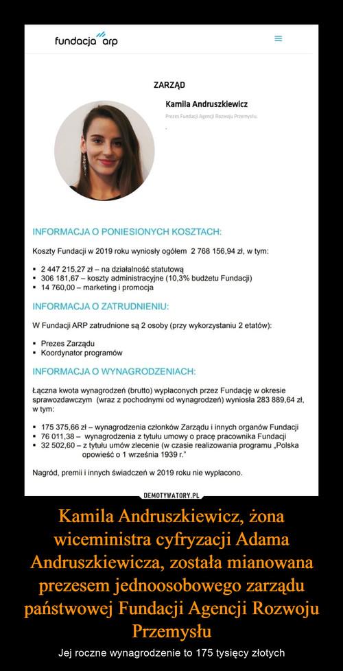 Kamila Andruszkiewicz, żona wiceministra cyfryzacji Adama Andruszkiewicza, została mianowana prezesem jednoosobowego zarządu państwowej Fundacji Agencji Rozwoju Przemysłu