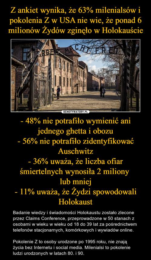Z ankiet wynika, że 63% milenialsów i pokolenia Z w USA nie wie, że ponad 6 milionów Żydów zginęło w Holokauście - 48% nie potrafiło wymienić ani jednego ghetta i obozu - 56% nie potrafiło zidentyfikować Auschwitz - 36% uważa, że liczba ofiar śmiertelnych wynosiła 2 miliony  lub mniej - 11% uważa, że Żydzi spowodowali Holokaust