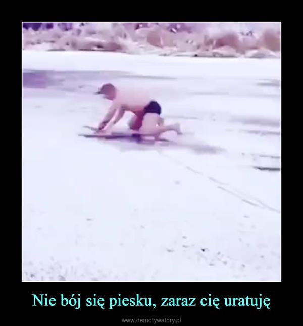 Nie bój się piesku, zaraz cię uratuję –