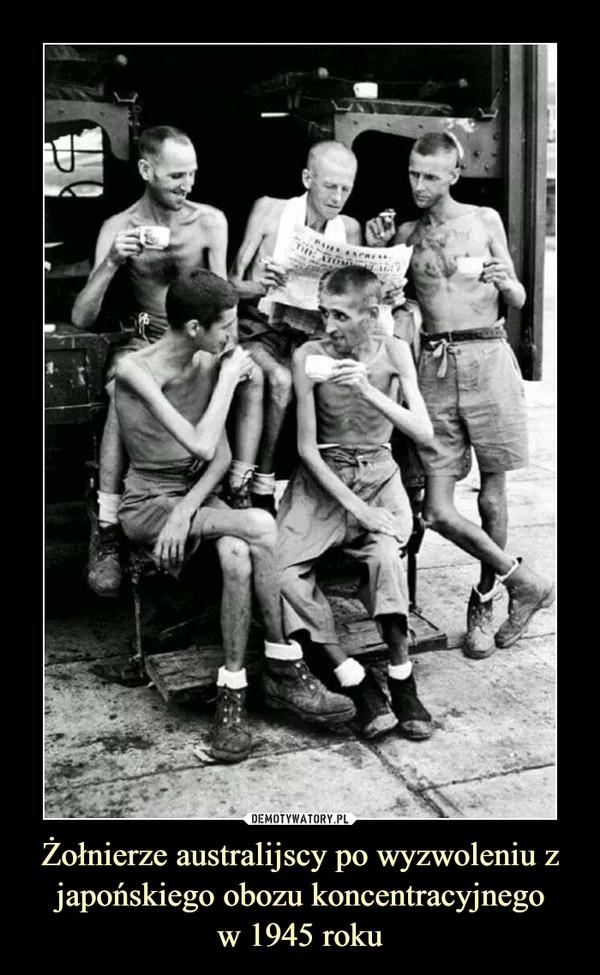 Żołnierze australijscy po wyzwoleniu z japońskiego obozu koncentracyjnegow 1945 roku –