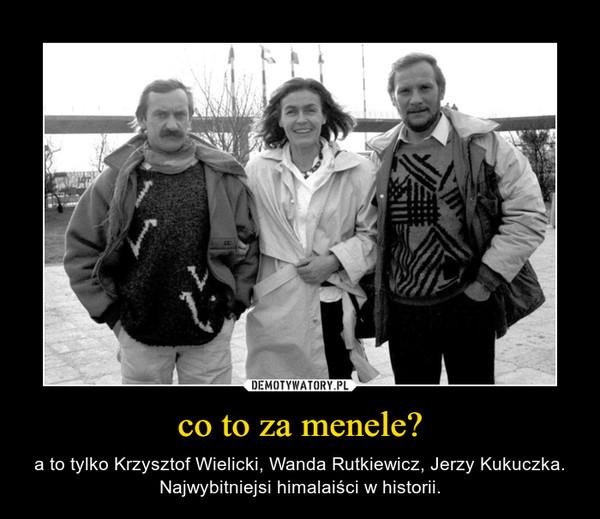 co to za menele? – a to tylko Krzysztof Wielicki, Wanda Rutkiewicz, Jerzy Kukuczka. Najwybitniejsi himalaiści w historii.
