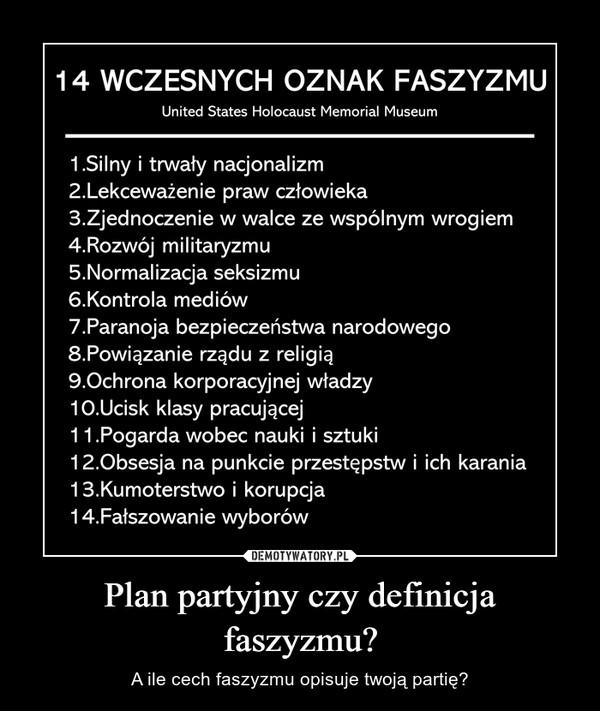 Plan partyjny czy definicja faszyzmu? – A ile cech faszyzmu opisuje twoją partię?