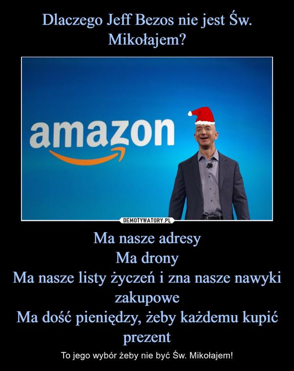 Ma nasze adresyMa dronyMa nasze listy życzeń i zna nasze nawyki zakupoweMa dość pieniędzy, żeby każdemu kupić prezent – To jego wybór żeby nie być Św. Mikołajem!