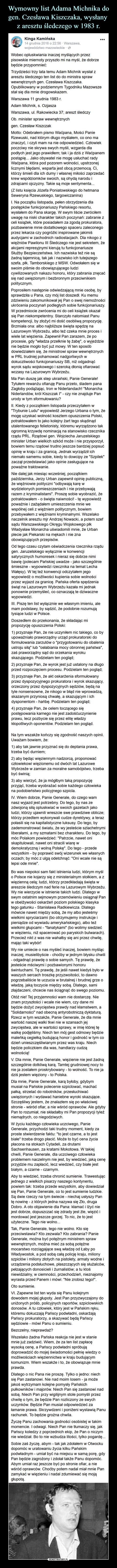 Wymowny list Adama Michnika do gen. Czesława Kiszczaka, wysłany  z aresztu śledczego w 1983 r.