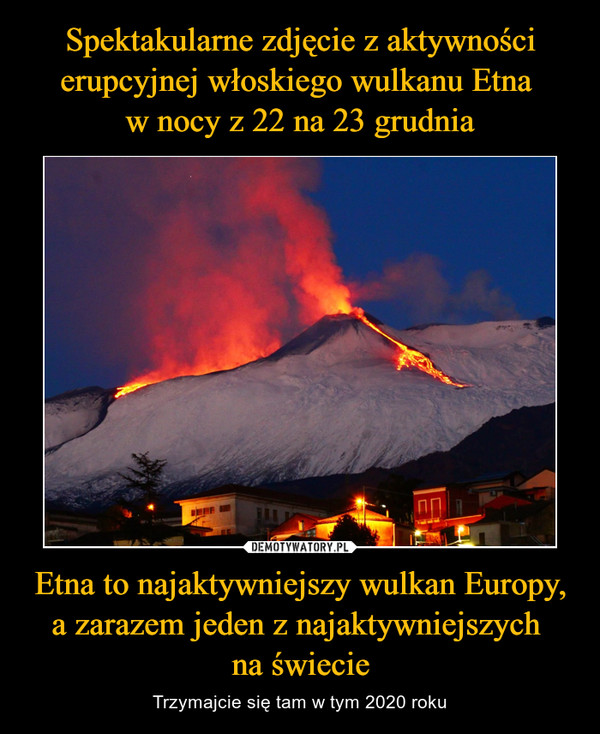 Etna to najaktywniejszy wulkan Europy, a zarazem jeden z najaktywniejszych na świecie – Trzymajcie się tam w tym 2020 roku