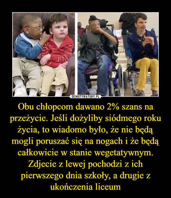 Obu chłopcom dawano 2% szans na przeżycie. Jeśli dożyliby siódmego roku życia, to wiadomo było, że nie będą mogli poruszać się na nogach i że będą całkowicie w stanie wegetatywnym. Zdjecie z lewej pochodzi z ich pierwszego dnia szkoły, a drugie z ukończenia liceum –