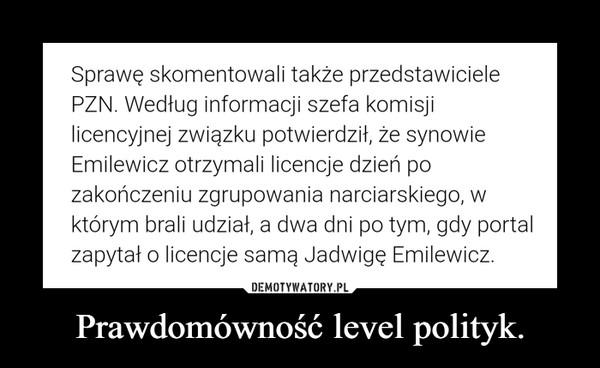 Prawdomówność level polityk. –