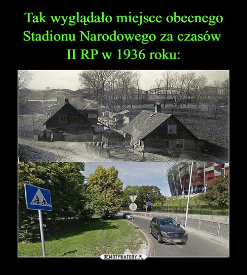 Tak wyglądało miejsce obecnego Stadionu Narodowego za czasów  II RP w 1936 roku: