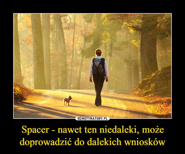 Spacer - nawet ten niedaleki, może doprowadzić do dalekich wniosków –
