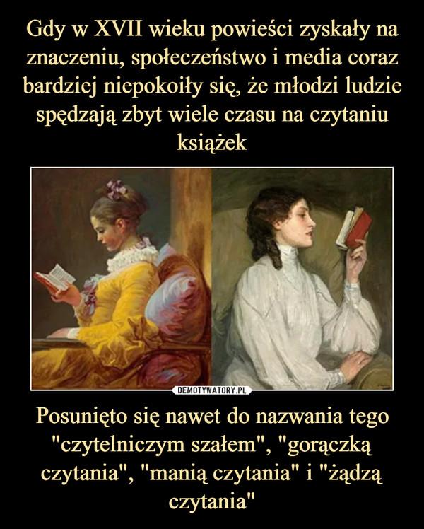 """Posunięto się nawet do nazwania tego """"czytelniczym szałem"""", """"gorączką czytania"""", """"manią czytania"""" i """"żądzą czytania"""" –"""