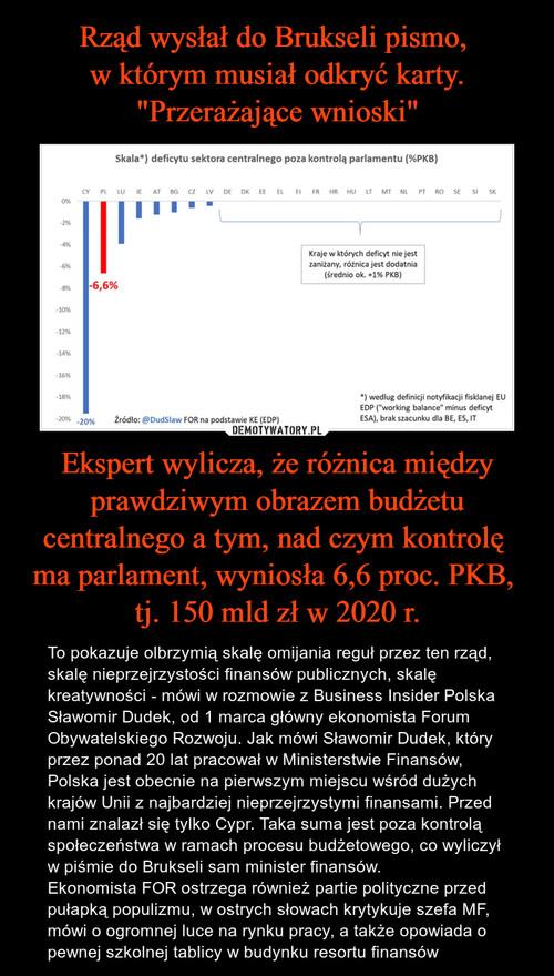 """Rząd wysłał do Brukseli pismo,  w którym musiał odkryć karty. """"Przerażające wnioski"""" Ekspert wylicza, że różnica między prawdziwym obrazem budżetu centralnego a tym, nad czym kontrolę  ma parlament, wyniosła 6,6 proc. PKB,  tj. 150 mld zł w 2020 r."""