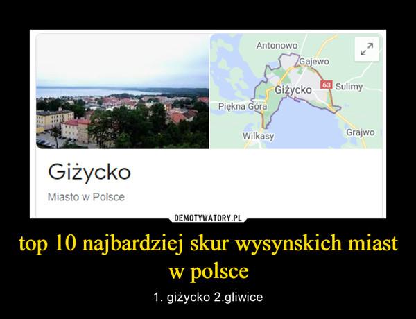 top 10 najbardziej skur wysynskich miast w polsce – 1. giżycko 2.gliwice