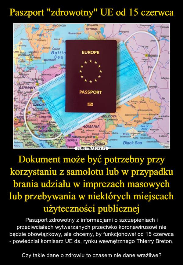 Dokument może być potrzebny przy korzystaniu z samolotu lub w przypadku brania udziału w imprezach masowych lub przebywania w niektórych miejscach użyteczności publicznej – Paszport zdrowotny z informacjami o szczepieniach i przeciwciałach wytwarzanych przeciwko koronawirusowi nie będzie obowiązkowy, ale chcemy, by funkcjonował od 15 czerwca - powiedział komisarz UE ds. rynku wewnętrznego Thierry Breton.Czy takie dane o zdrowiu to czasem nie dane wrażliwe?