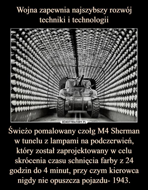 Świeżo pomalowany czołg M4 Sherman w tunelu z lampami na podczerwień, który został zaprojektowany w celu skrócenia czasu schnięcia farby z 24 godzin do 4 minut, przy czym kierowca nigdy nie opuszcza pojazdu- 1943. –