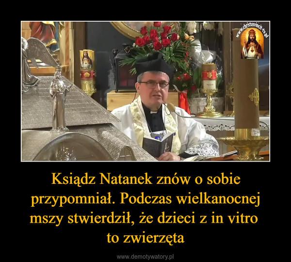 Ksiądz Natanek znów o sobie przypomniał. Podczas wielkanocnej mszy stwierdził, że dzieci z in vitro to zwierzęta –