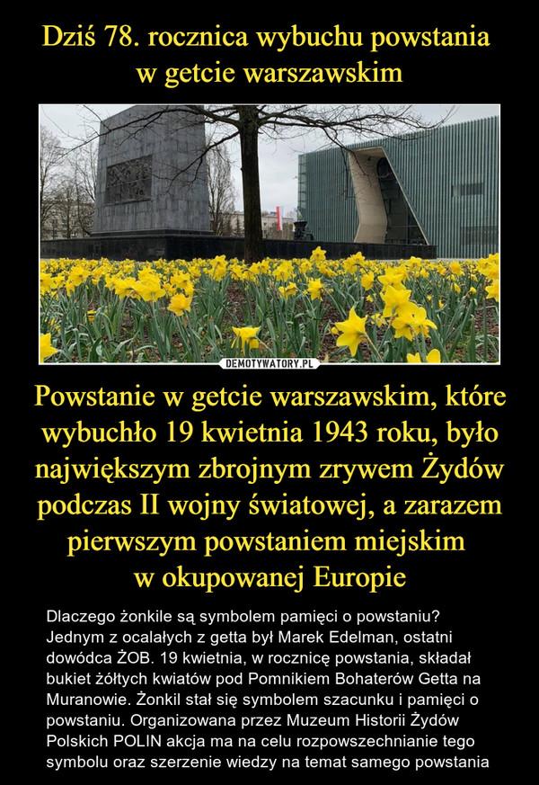 Powstanie w getcie warszawskim, które wybuchło 19 kwietnia 1943 roku, było największym zbrojnym zrywem Żydów podczas II wojny światowej, a zarazem pierwszym powstaniem miejskim w okupowanej Europie – Dlaczego żonkile są symbolem pamięci o powstaniu? Jednym z ocalałych z getta był Marek Edelman, ostatni dowódca ŻOB. 19 kwietnia, w rocznicę powstania, składał bukiet żółtych kwiatów pod Pomnikiem Bohaterów Getta na Muranowie. Żonkil stał się symbolem szacunku i pamięci o powstaniu. Organizowana przez Muzeum Historii Żydów Polskich POLIN akcja ma na celu rozpowszechnianie tego symbolu oraz szerzenie wiedzy na temat samego powstania
