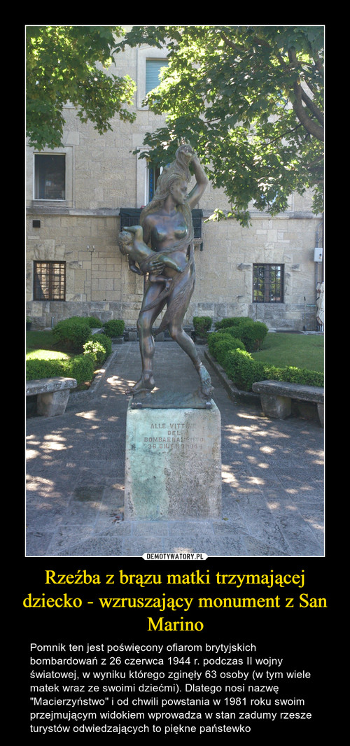 Rzeźba z brązu matki trzymającej dziecko - wzruszający monument z San Marino