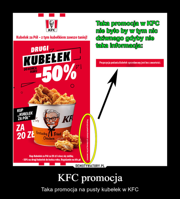 KFC promocja – Taka promocja na pusty kubełek w KFC
