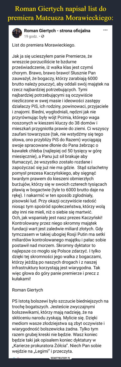 Roman Giertych napisał list do premiera Mateusza Morawieckiego: