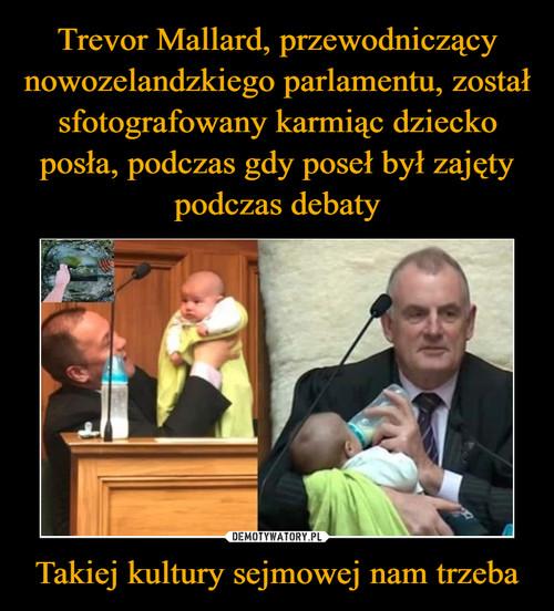 Trevor Mallard, przewodniczący nowozelandzkiego parlamentu, został sfotografowany karmiąc dziecko posła, podczas gdy poseł był zajęty podczas debaty Takiej kultury sejmowej nam trzeba