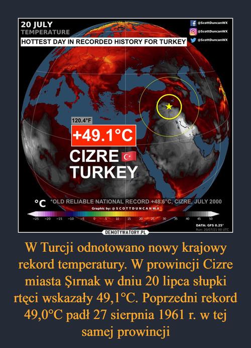 W Turcji odnotowano nowy krajowy rekord temperatury. W prowincji Cizre miasta Şırnak w dniu 20 lipca słupki rtęci wskazały 49,1°C. Poprzedni rekord 49,0°C padł 27 sierpnia 1961 r. w tej samej prowincji