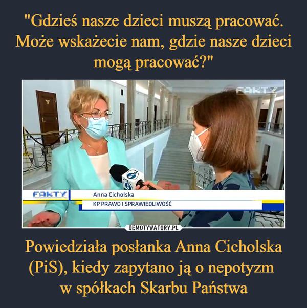 Powiedziała posłanka Anna Cicholska (PiS), kiedy zapytano ją o nepotyzm w spółkach Skarbu Państwa –