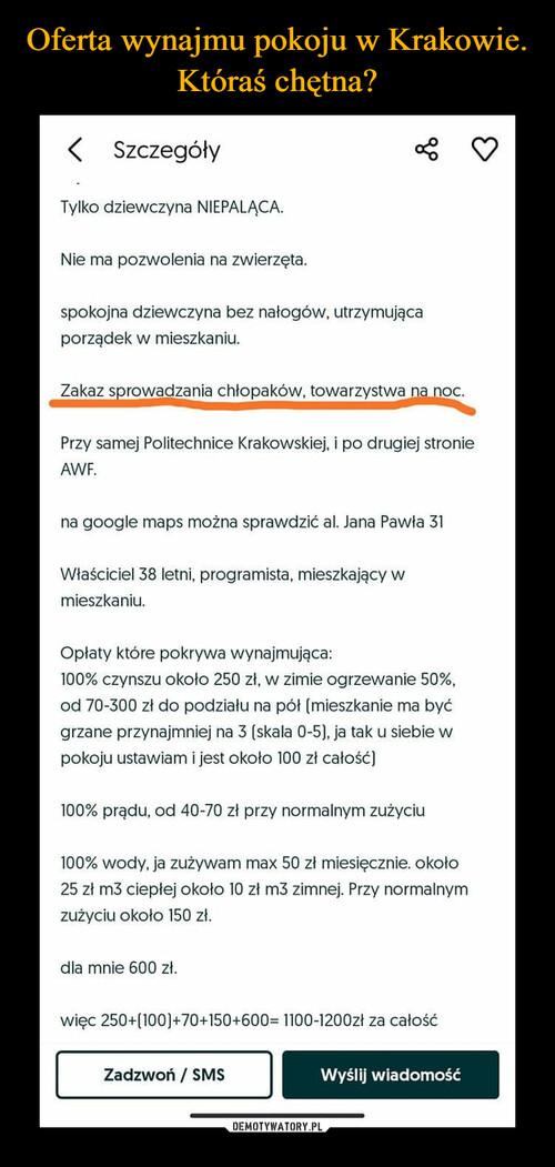 Oferta wynajmu pokoju w Krakowie. Któraś chętna?