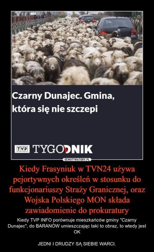 Kiedy Frasyniuk w TVN24 używa pejortywnych określeń w stosunku do funkcjonariuszy Straży Granicznej, oraz Wojska Polskiego MON składa zawiadomienie do prokuratury