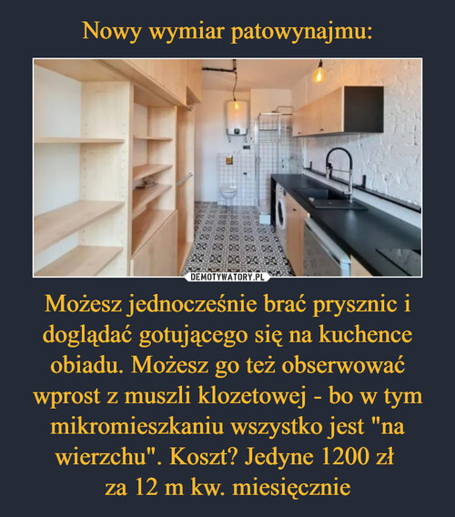"""Nowy wymiar patowynajmu: Możesz jednocześnie brać prysznic i doglądać gotującego się na kuchence obiadu. Możesz go też obserwować wprost z muszli klozetowej - bo w tym mikromieszkaniu wszystko jest """"na wierzchu"""". Koszt? Jedyne 1200 zł  za 12 m kw. miesięcznie"""